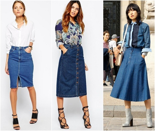 cách phối đồ với chân váy jean ôm - chân váy bò kết hợp với áo gì