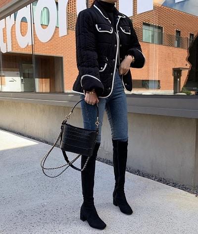 Mix quần skinny jeans với boots cao cổ - Ảnh 3