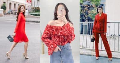 Không khó để tìm thấy những item màu đỏ từ blazer, váy suông, áo phông...