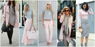 Phối màu sắc trang phục cùng màu hồng và xám