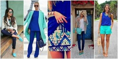 Phối màu sắc trang phục cùng xanh cô ban và xanh ngọc