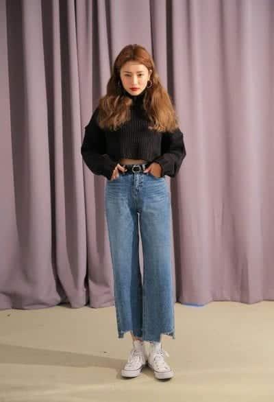 Áo len Crop Top phối với quần Culottes bò