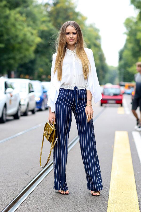 quần ống rộng mặc với áo gì đẹp 2