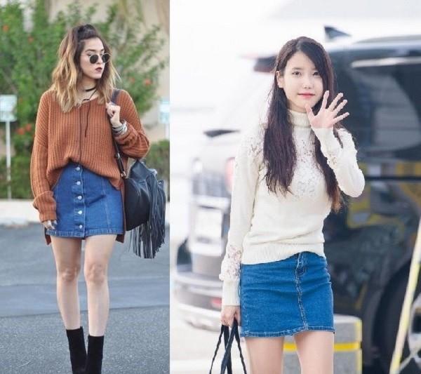 cách phối đồ với chân váy jean ôm đẹp với áo sweater - chân váy bò dài