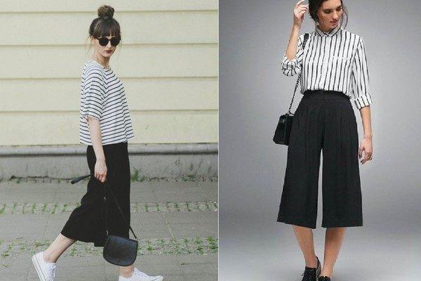 Quần culottes và áo kẻ sọc