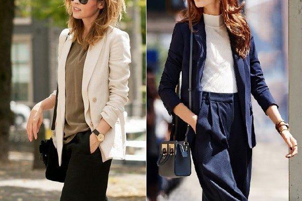 Quần culottes và áo blazer