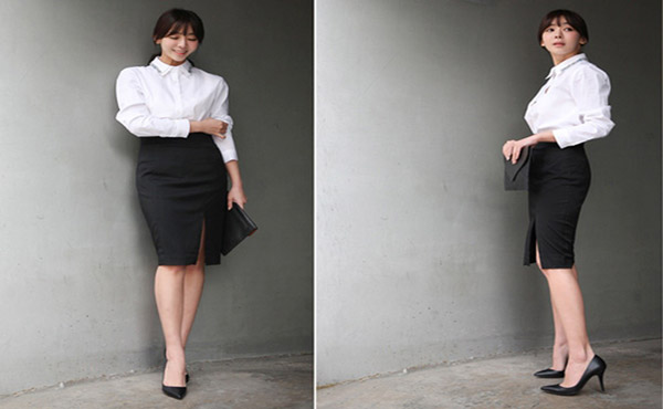Chân váy đen dài ôm với áo sơ mi