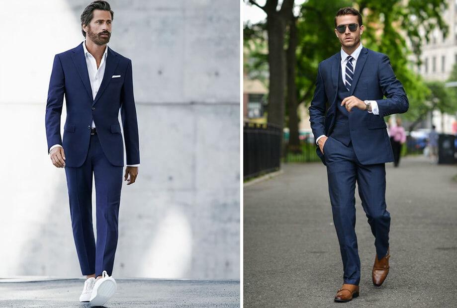 Vest xanh đậm phối với sneaker trắng hoặc giày tây nâu nhạt trông trẻ trung, phóng khoáng nhưng vẫn toát lên vẻ lịch lãm | Đàn ông mặc vest nên đi giày gì?