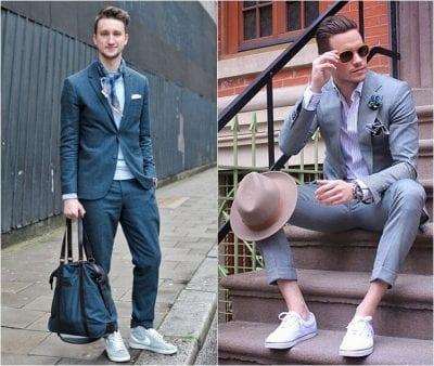 Các quý ông có thể biến tấu phối Suit cùng giày thể thao xám cho phong cách lịch lãm