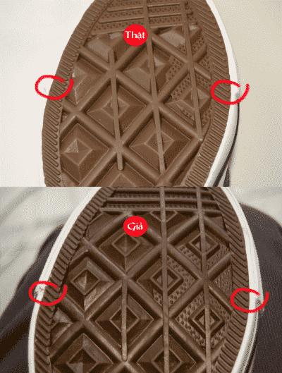 Cách phân biệt giày Converse thật và giả qua đế giày