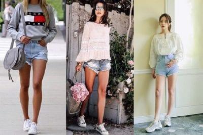 Mix giày thể thao với quần short, kết hợp áo sơ mi, áo thun, áo nỉ