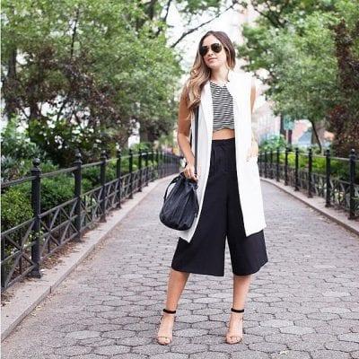 Thay đổi phong cách năng động, cá tính cùng cách mix quần Culottes với áo khoác Gile dáng dài
