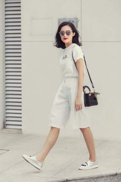 Phối quần Culottes cùng giày lười cho nàng vẻ trẻ trung, năng động