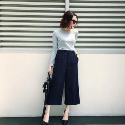 Thanh lịch, nữ tính với cách phối giày cao gót cùng quần Culottes