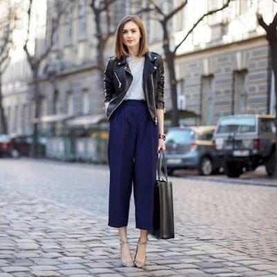 Sành điệu với cách kết hợp áo khoác da, quần Culottes cùng giày cao gót