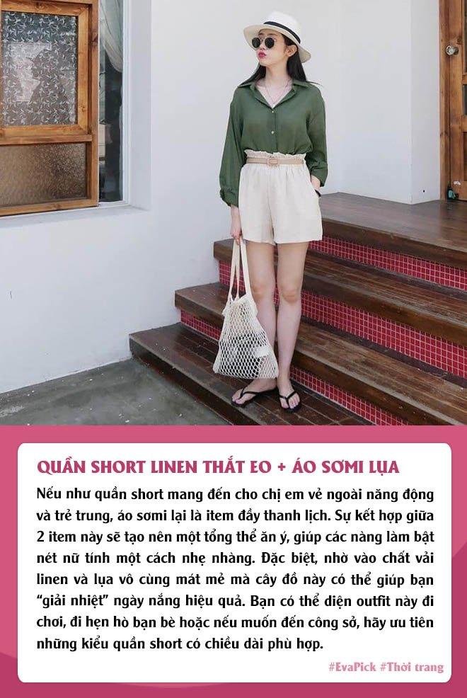 Eva Pick: 9 cách diện quần short amp;#34;kéo chânamp;#34;, mặc đi làm hay đi chơi vừa đẹp vừa mát - 1