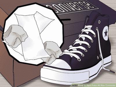 Giày Converse thật thường có giấy bọc cẩn thận và có cả giấy nhồi bên trong giày