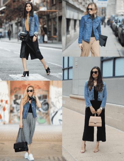 Quần Culottes có thể kết hợp được với đa dạng các loại áo khoác Jeans khác nhau