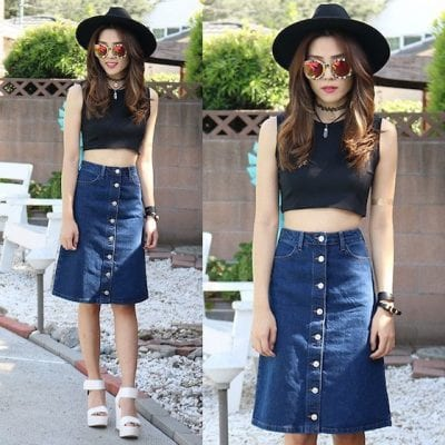 Chân váy jean phối với áo croptop