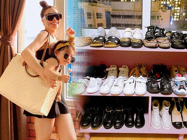 Choáng với tủ giày dép của gái cưng Trà Ngọc Hằng, đồ sộ và sành điệu chẳng kém mẹ